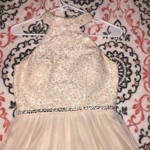 Nude lacy prom dress